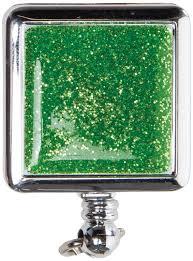 Badge Reel Green Glitter