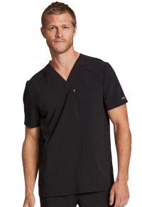 Men's Retro V-Neck Top with Zipper Pocket